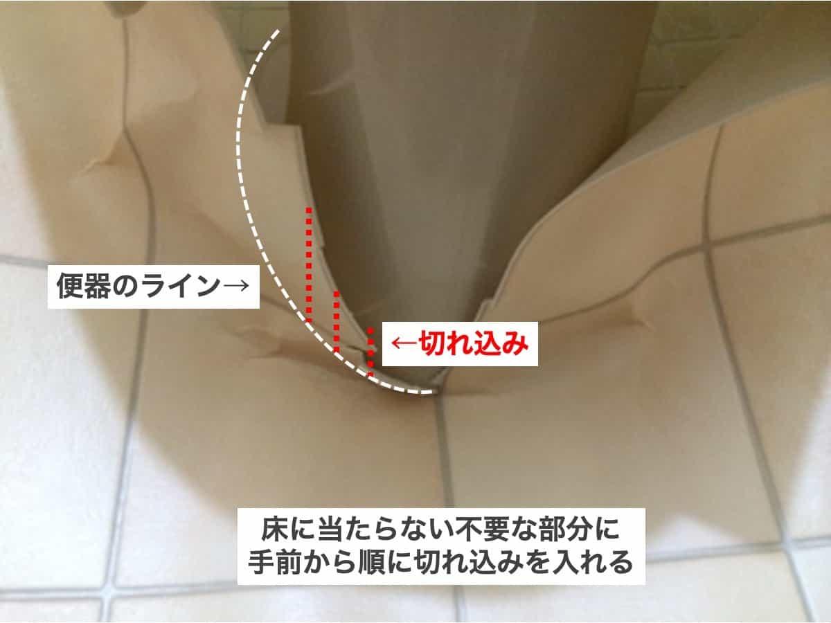 クッションフロアを便器の形に合わせて切れ込みを入れる