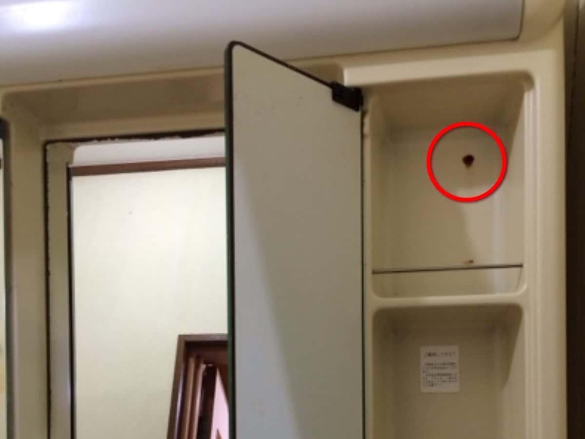 古い洗面化粧台を壁に固定しているネジ(上側)