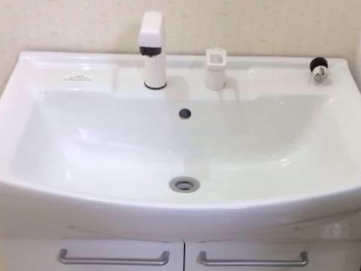 シャワーとレバーを洗面台に取り付けた様子