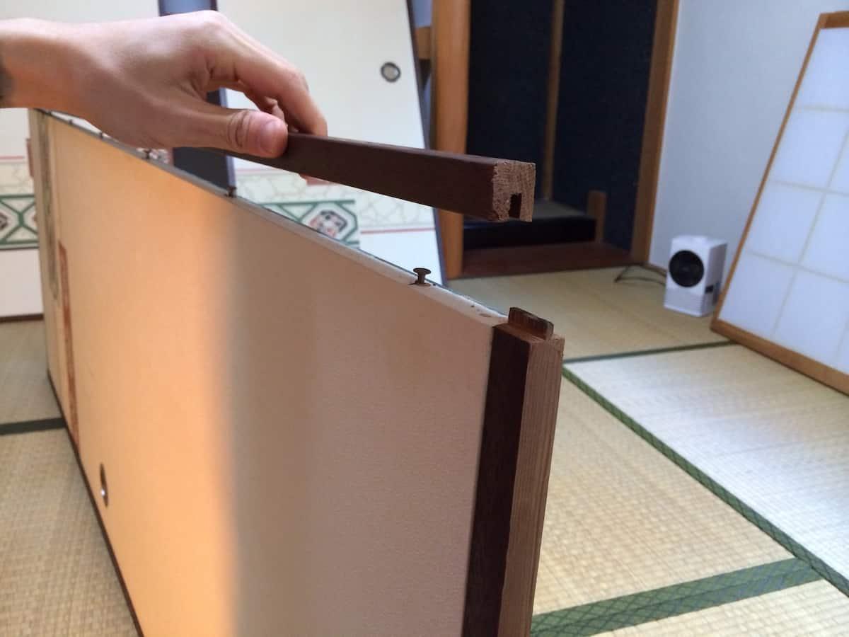 ふすまの左右の木枠を取り外す