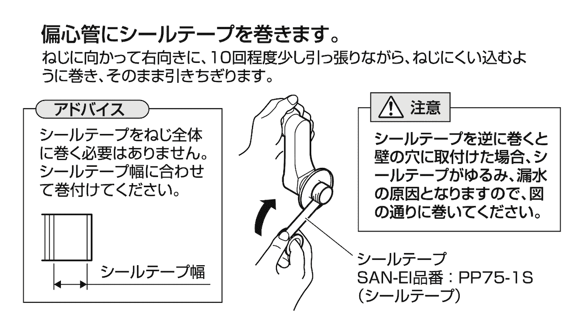 シールテープの巻き方