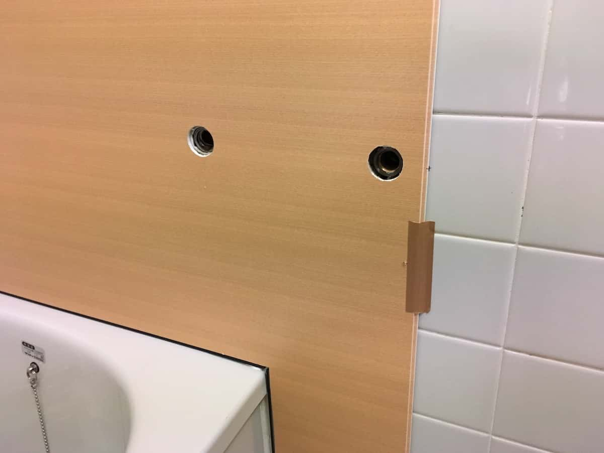 水栓用の穴も忘れずに加工しておく