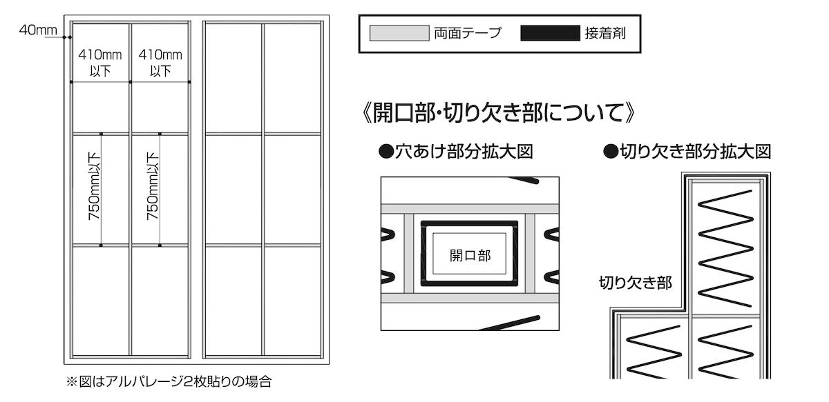バスパネル「アルパレージ」の両面テープの貼り付け詳細