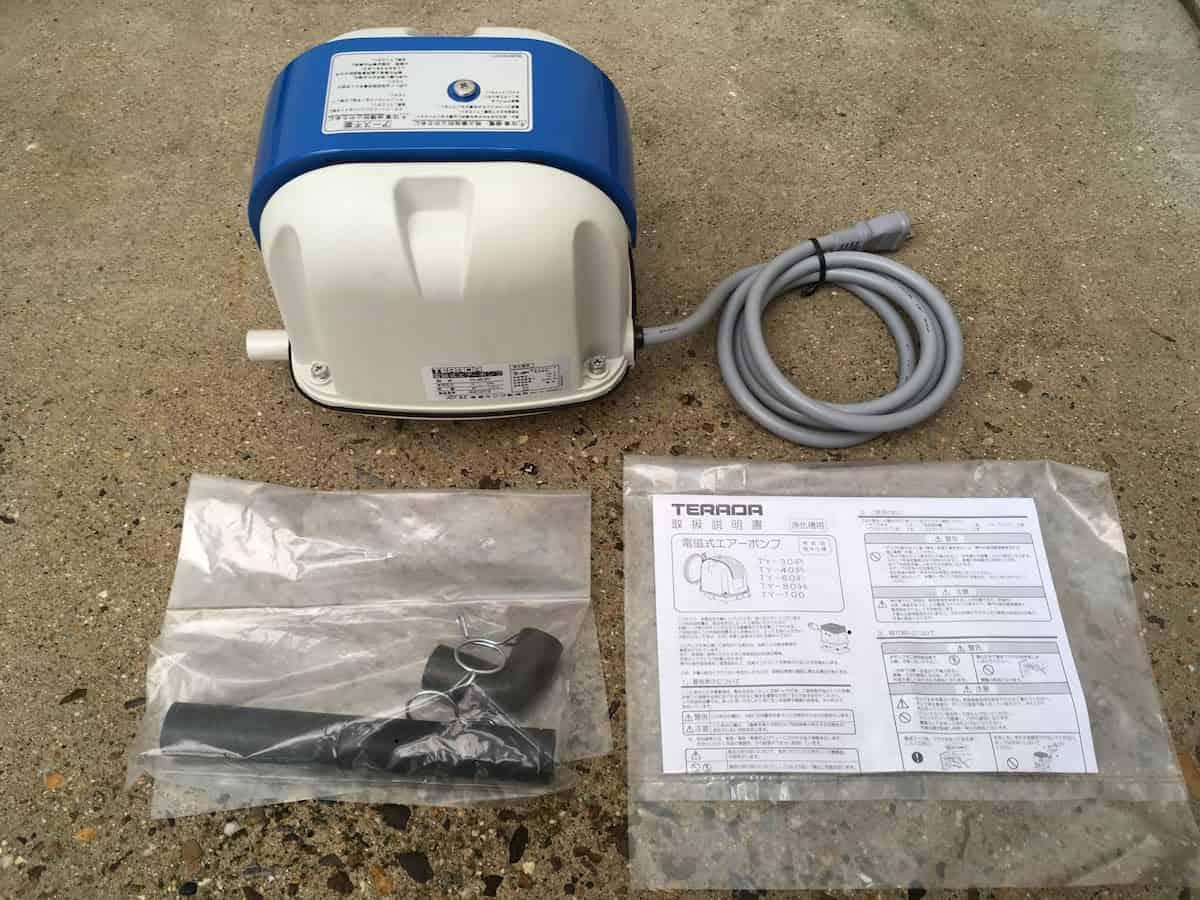 新しく購入した空気量40L/分の浄化槽ブロア(ポンプ・モーター)
