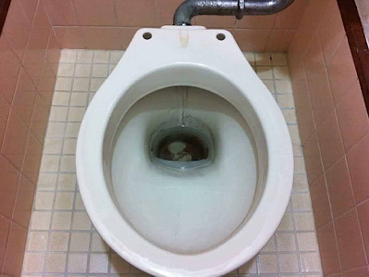 トイレの便器の底にこびりついた水垢のような茶色い汚れ