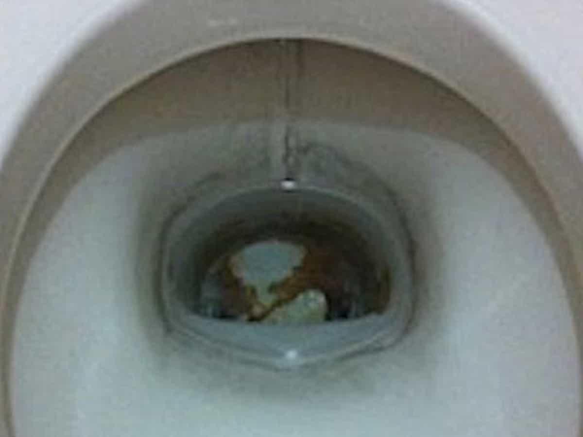 トイレの便器にこびりついた茶色い汚れ(尿石)