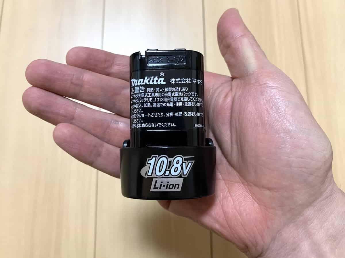 マキタの10.8VインパクトドライバーTD090DWSPWの10.8Vバッテリー(充電池)