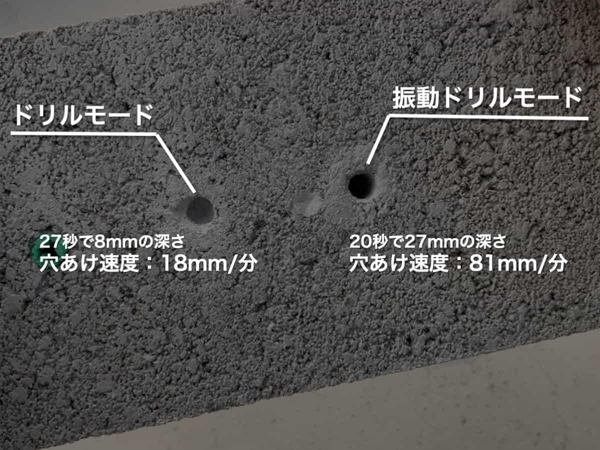 電動ドリルドライバーのドリルモードと振動ドリルモードのコンクリートブロックの穴あけ比較