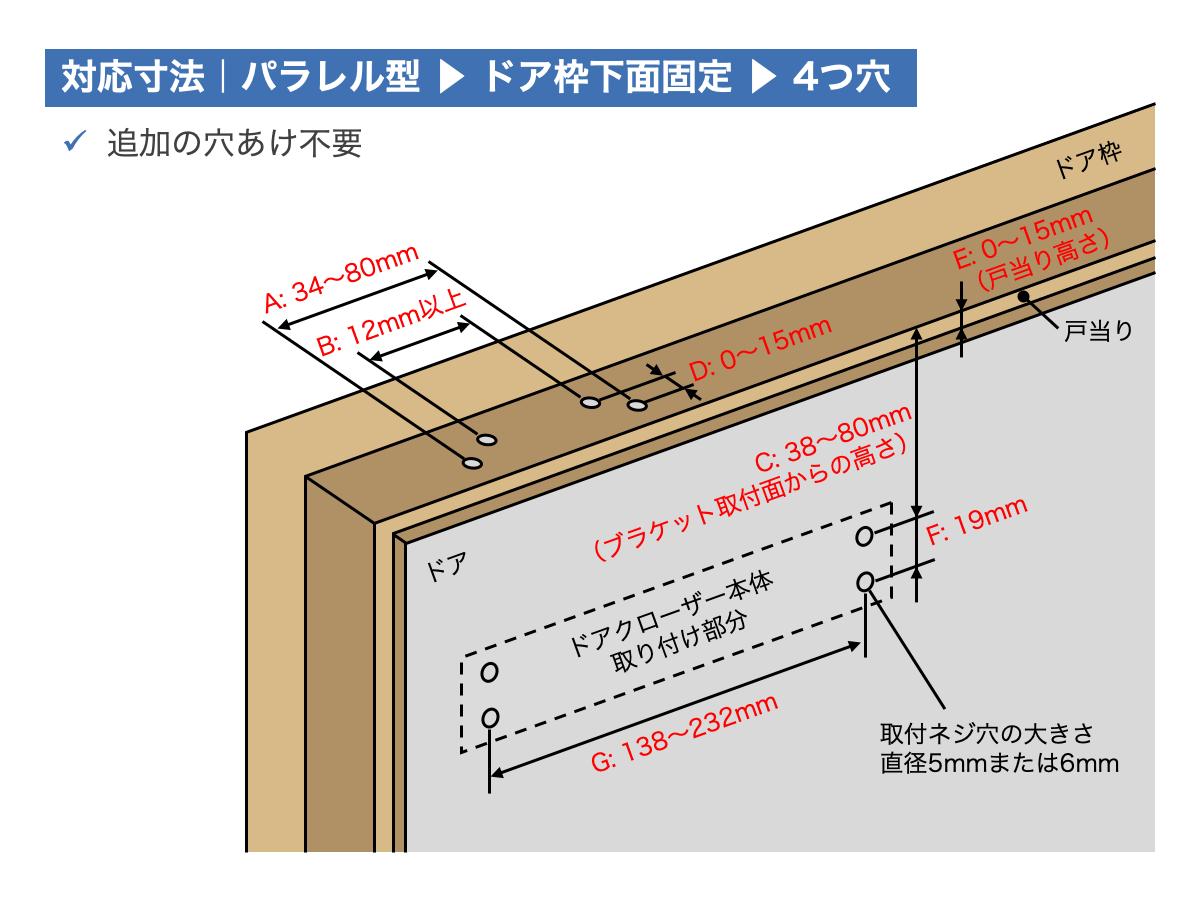 リョービ取替用ドアクローザー対応寸法:パラレル型ドアクローザー|ドア枠下面固定|4つ穴