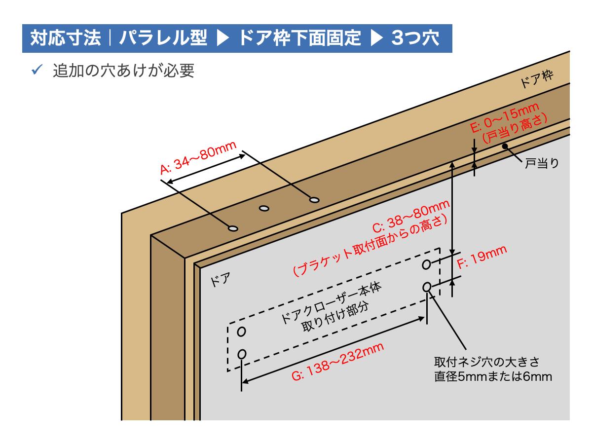 リョービ取替用ドアクローザー対応寸法:パラレル型ドアクローザー|ドア枠下面固定|3つ穴