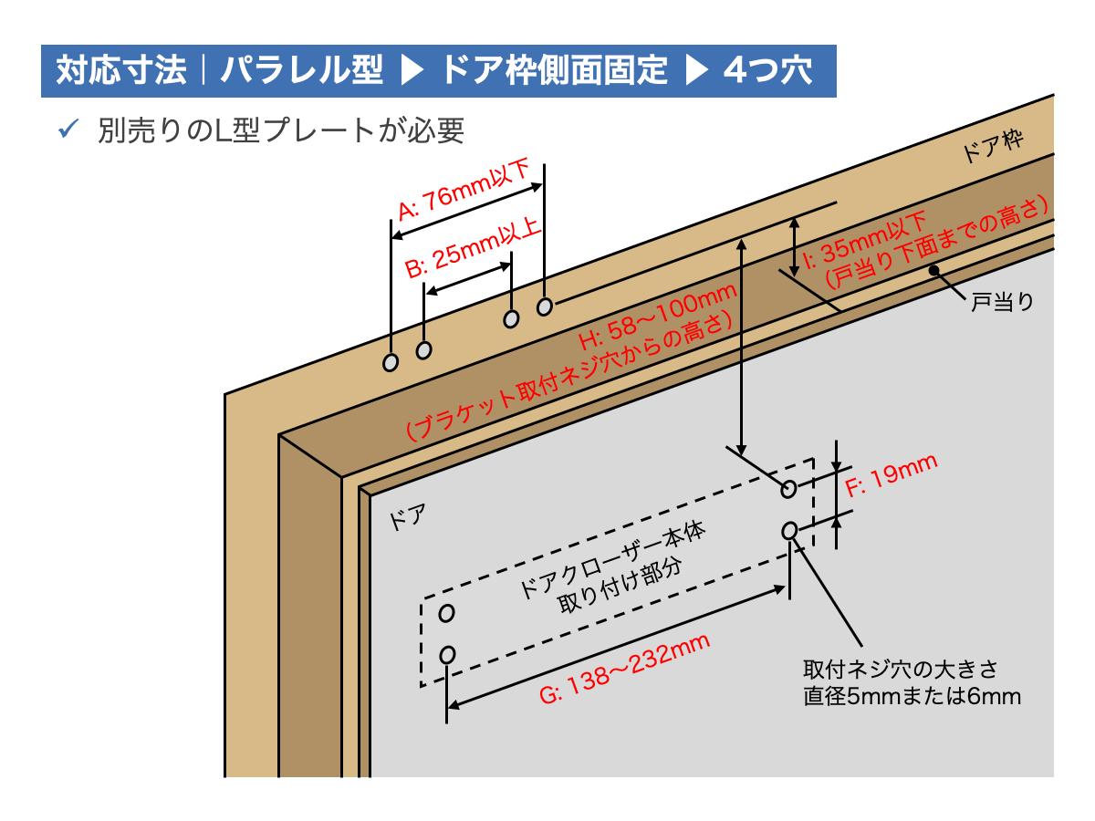 リョービ取替用ドアクローザー対応寸法:パラレル型ドアクローザー|ドア枠側面固定|4つ穴