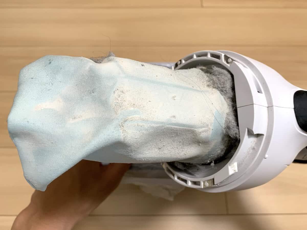 高性能フィルターについた細かな粉末ゴミ